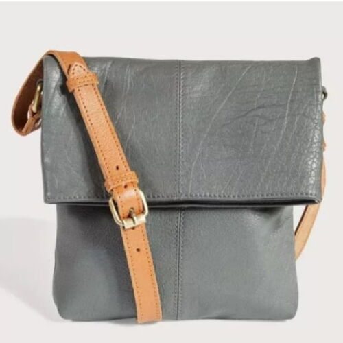 Charcoal cross body leather bag