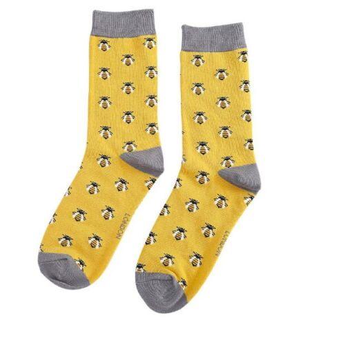 Miss Sparrow Ladies Bamboo Socks. Bees Yellow