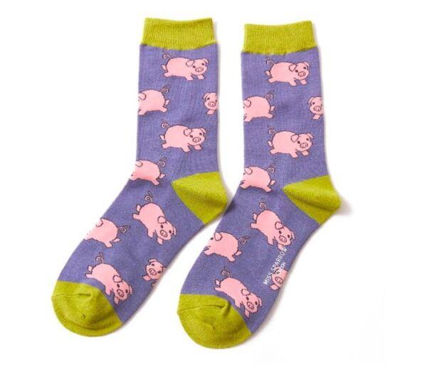 Miss Sparrow Ladies Bamboo Socks. Pigs Cornflower
