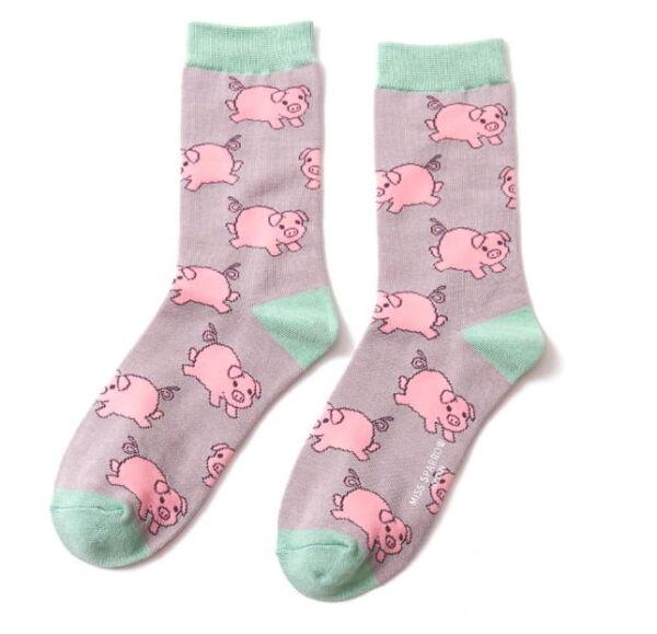 Miss Sparrow Ladies Bamboo Socks. Pigs Grey