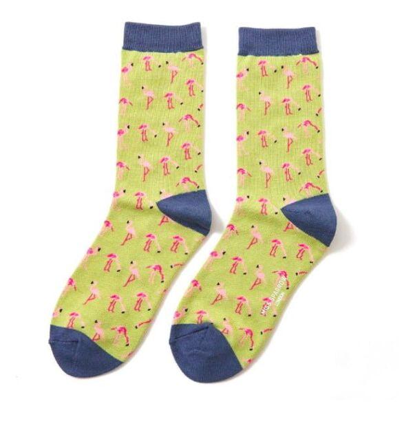 Miss Sparrow Ladies Bamboo Socks. Flamingos Green