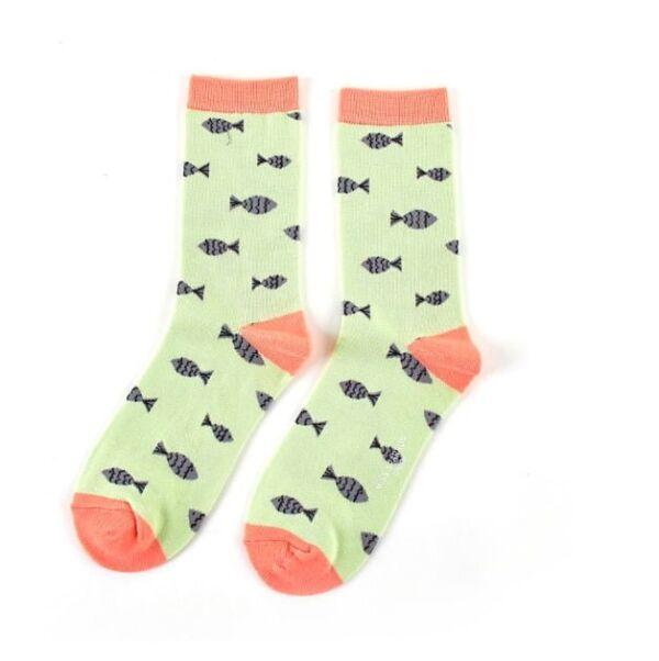 Miss Sparrow Ladies Bamboo Socks. Fish Green