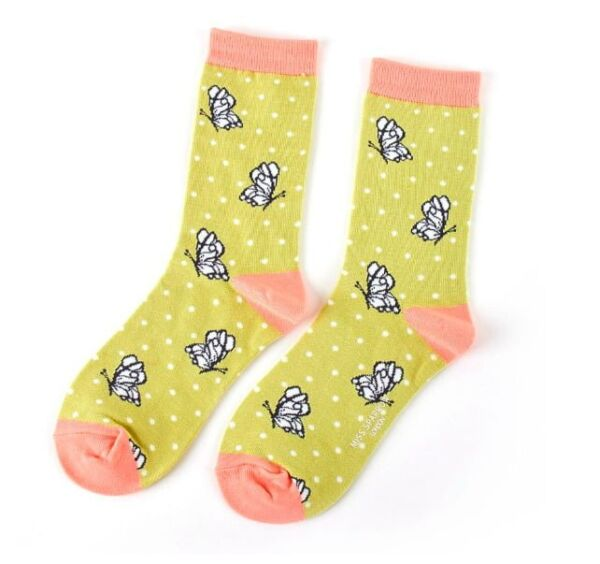 Miss Sparrow Ladies Bamboo Socks. Butterfly Green