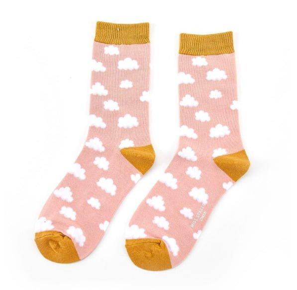 Miss Sparrow Ladies Bamboo Socks. Clouds Pink