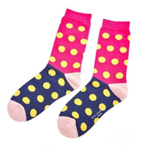 Miss Sparrow Ladies Bamboo Socks. Spotty Pink