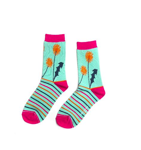 Miss Sparrow Ladies Bamboo Socks. Dandelion Mint