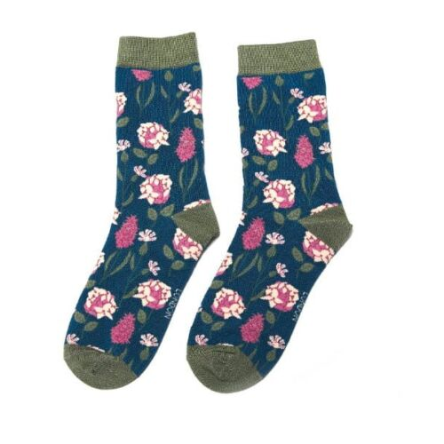 Miss Sparrow Ladies Bamboo socks. Botany Teal
