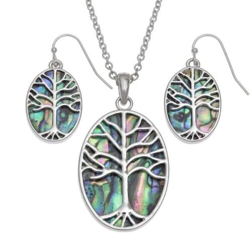 Tree of Life pendant and earrings in paua shell