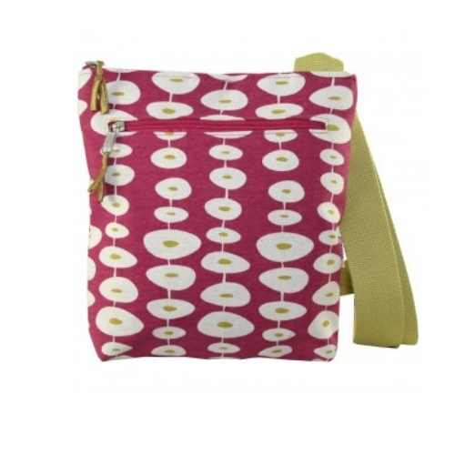Canvass Messenger Bag, Oval link Raspberry