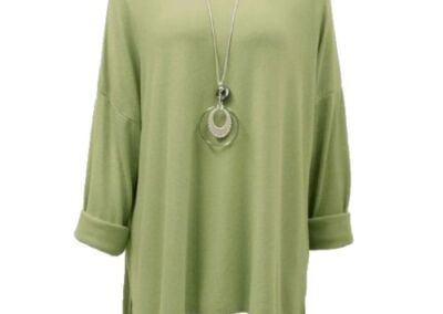 Lime .Necklace With Top Knit Soft Ladies