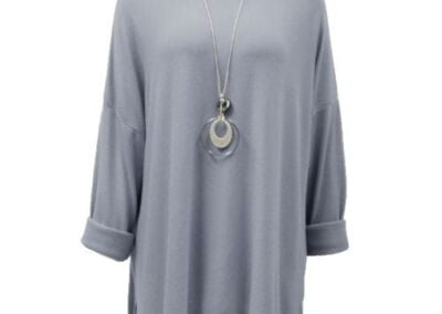 Grey .Necklace With Top Knit Soft Ladies