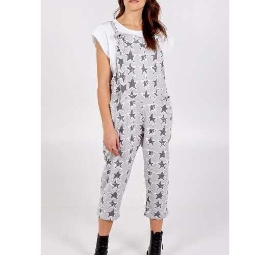 Womens Cotton Star Dungarees. light Grey