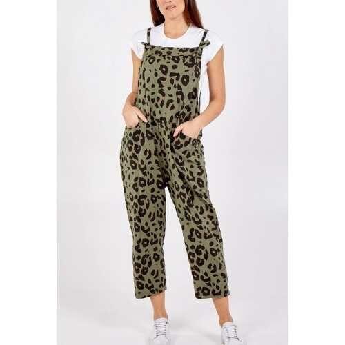 Women's Cotton Animal Print Dungarees. Khaki