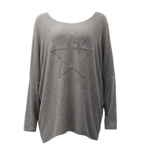 Grey ,Top Knit Soft Star Women's