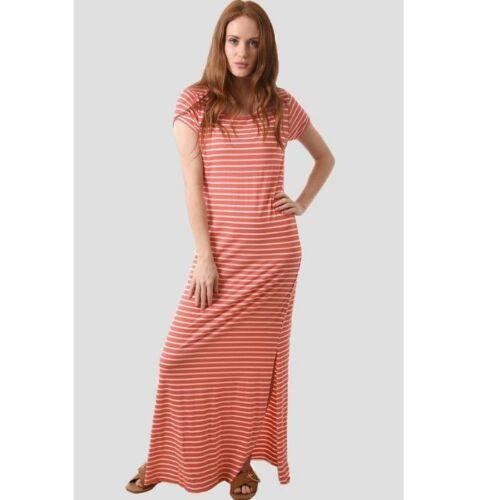 Ladies Long coral stripe dress jersey
