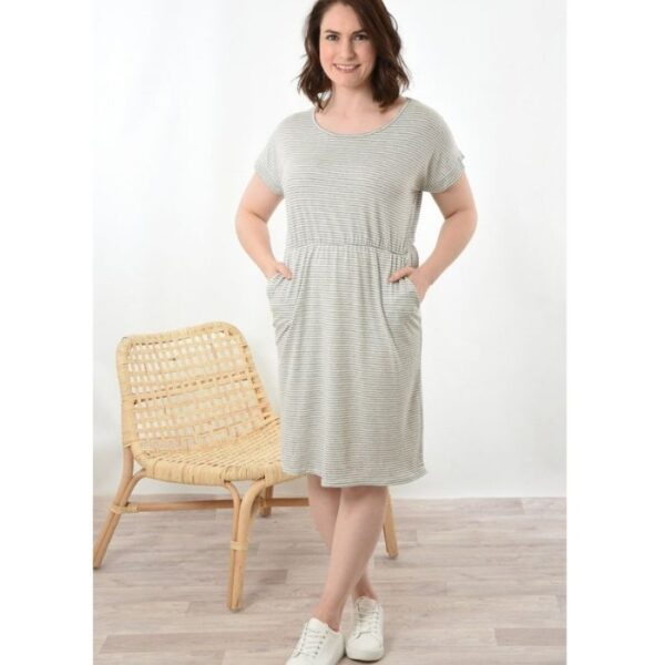 Grey Stripe Jersey Dress short.