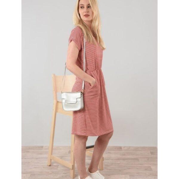 coral stripe jersey cotton knee length dress