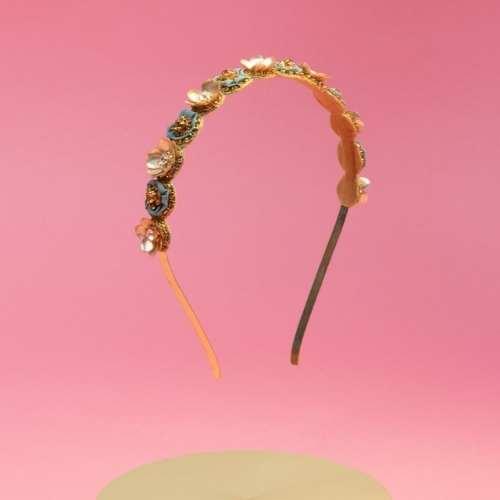 Powder Flower Headband. Teal