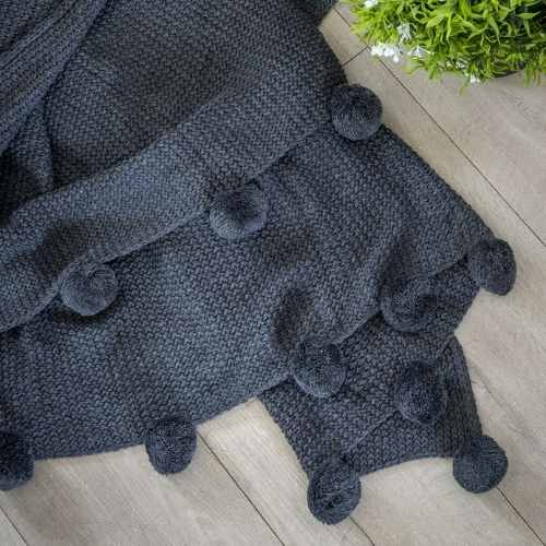 Pom Pom Knitted Throw in Charcoal