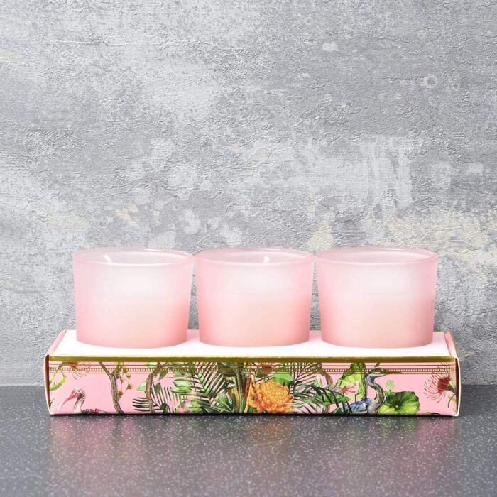 set of 3 pink oriental flower candles