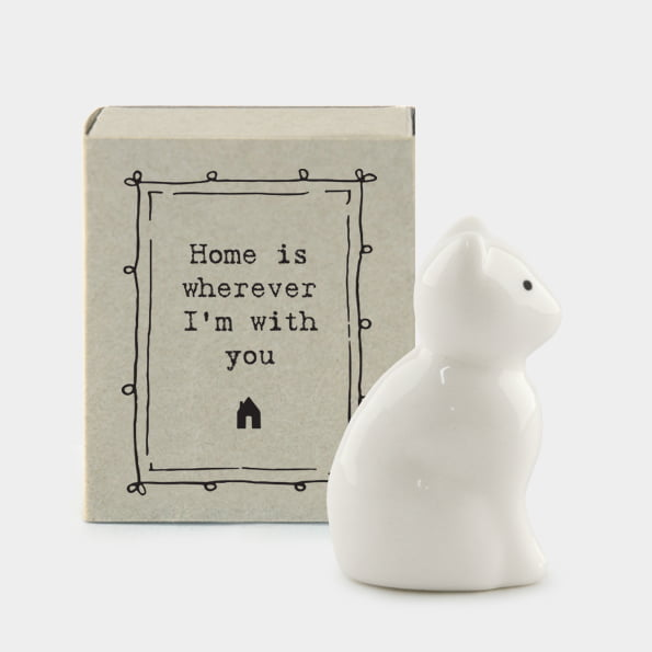 East Of India Porcelain Cat Gift in a matchbox