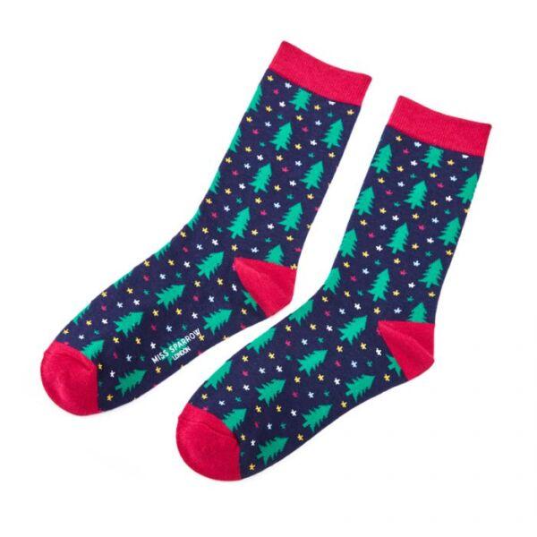 Bamboo socks Christmas tree navy