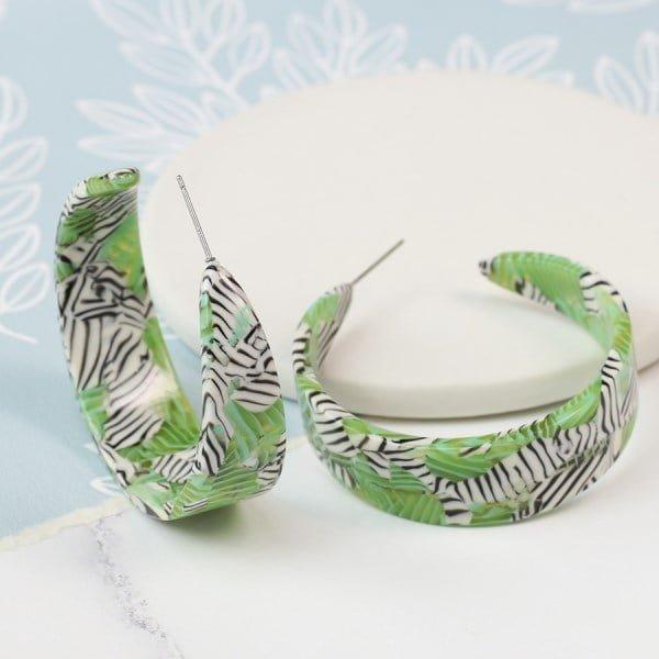 acrylic green earring zebra print