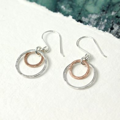 Earrings Circle Plated Gold Rose And Siver