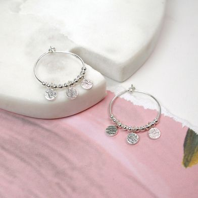 Sterling Silver Hoops With Disc