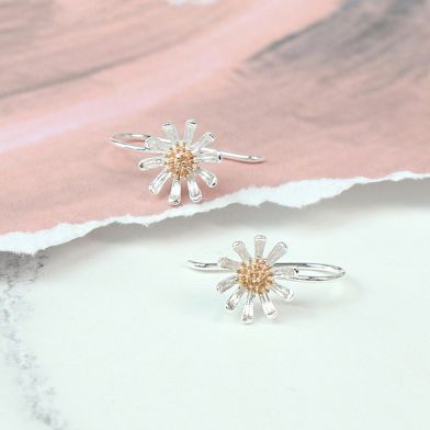 Sterling Silver Daisy Earrings With Gold Plate Detail