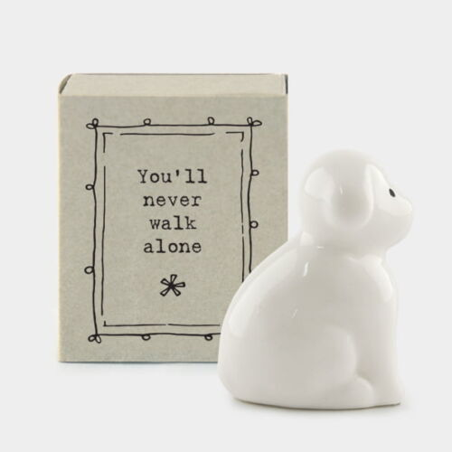 East of India Porcelain Dog in a Match box