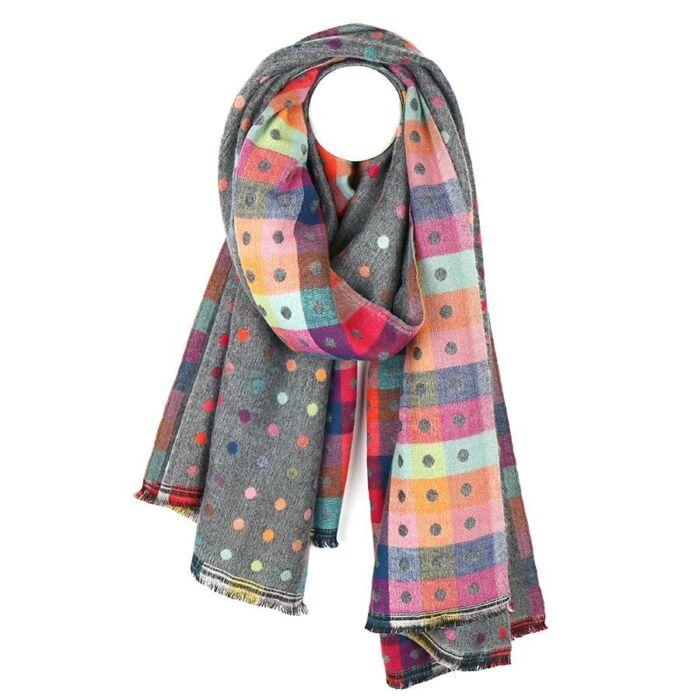 ggrey dotty winter scarf . soft