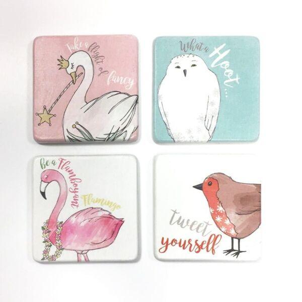 bird coaster set ceramic