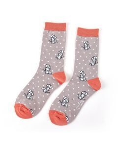 Womens soft bamboo socks with butterfly design