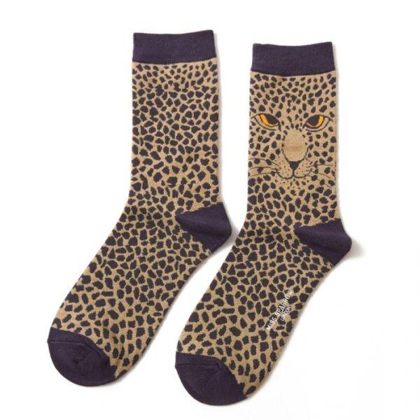 Bamboo socks leopard print