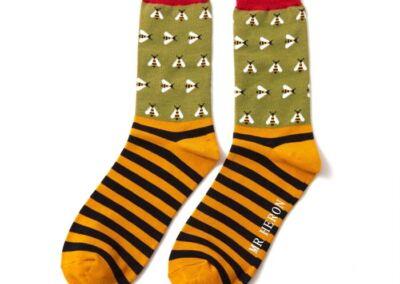 Mr Heron Men's Bamboo socks. Bees