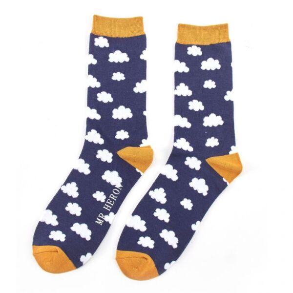Mr Heron Men's bamboo socks. Clouds