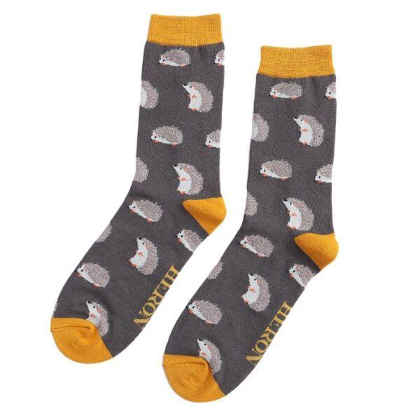 Mr Heron Men's Bamboo Socks. Hedgehogs.