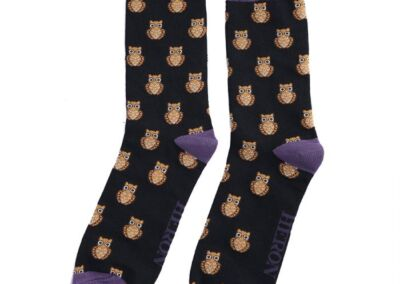 Mr Heron Men's Bamboo socks. Owls