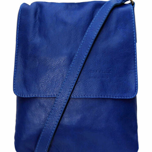 Cross Body Leather Bag Blue