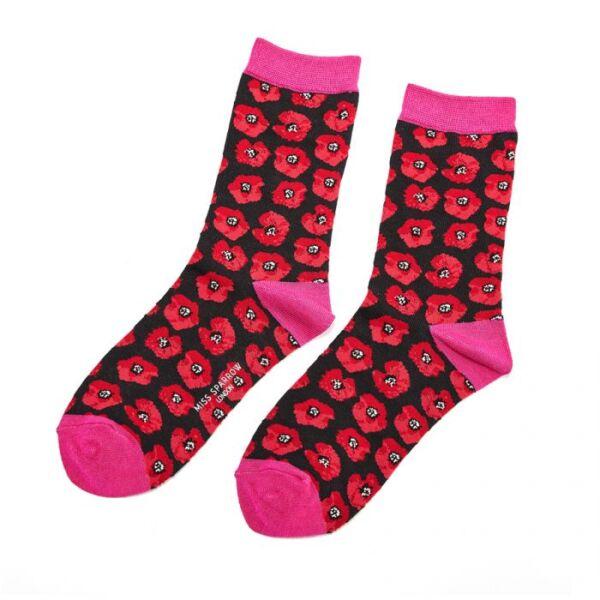Poppy design bamboo socks black