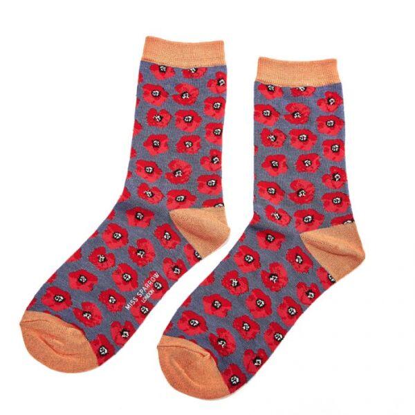 Bamboo socks Navy poppies