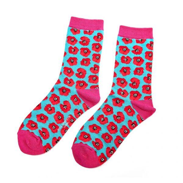 Bamboo socks poppy design turq