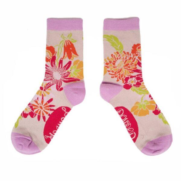 Powder ladies ankle socks cream meadow print