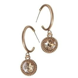 earrings hoop crystal drop gold