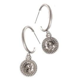 earrings hoop crystal drop silver