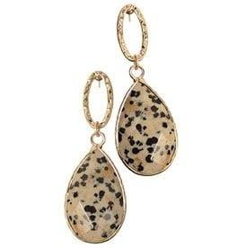 earings leopard stone drop