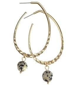 earring teardrop hoop with leopard bead drop