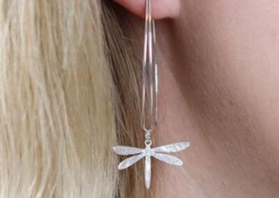 silver plated dragon fly earrings