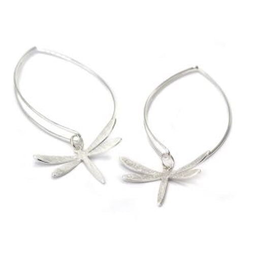 silver plated dragonfly drop earrings